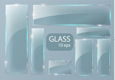 Seth Empty transparent glass plates. Vector template, banner layout with copy space. Photo realistic texture with. Backlight and glow on transparent. See Royalty Free Stock Photography
