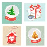 Seth of four-piece Christmas decor. Christmas snow globes, a letter to Santa Claus, a gingerbread house in the glaze. Flat style i vector illustration