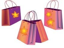Seth-Geschenktaschen Stellen Sie von den Herbsteinkaufstaschen ein vektor abbildung