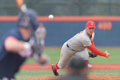 Seth Kinker pitching for Ohio State Stock Photos