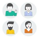 Seth liniowi stylowi avatars, ludzie charakterów Obraz Stock