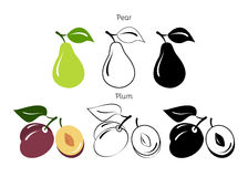 Seth pears and plums on a white background