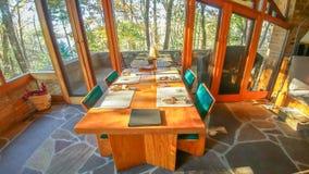 Seth Peterson Cottage im Mirror See-Nationalpark stockfotografie