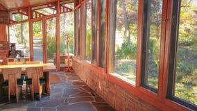 Seth Peterson Cottage im Mirror See-Nationalpark lizenzfreies stockbild