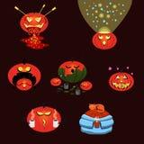 Seth pumpkins for halloween. Suitable for stickers. Emotional cartoon pumpkins festive on a dark background. Children`s set stock illustration
