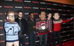 Seth Rogen, Anthony Mackie, Joseph Gordon Levitt. NEW YORK-NOV 16: Actors Seth Rogen, Anthony Mackie and Joseph Gordon-Levitt attend the screening of The Night Royalty Free Stock Photography