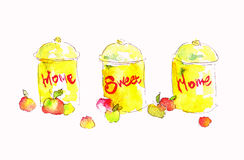 Seth watercolor cans nadpistyu home sweet home. Watercolor illustration for your design. Royalty Free Stock Photography