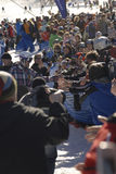 Seth Wescott. Is welcomed home at Sugarloaf by Governor Baldacci and his fans royalty free stock photo