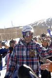 Seth Wescott. Two-time gold medallist enters at welcome home party at Sugarloaf royalty free stock photography