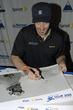 Seth Wescott siging autograph. Seth Wescott two-time gold medalist signing autographs at Sugarloaf stock photo
