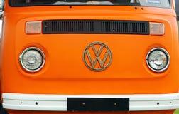 Front view of an old Volkswagen Type 2 Camper van displayed during volkswagen fe royalty free stock photo