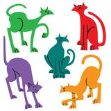 Setn with doodle cats. Collection with playing kitten in incoml. Ete cute cartoon style. Vector illustration. Simple domestic pets vector illustration