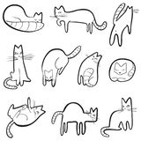 Setn with doodle cats. Collection with playing kitten in incoml. Ete cute sketchy style. Vector line art illustration. Simple domestic pets vector illustration