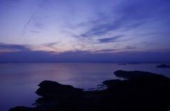 Seto内地海在晚上 免版税库存照片
