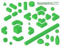 Seto isométrico y arbustos fijados stock de ilustración