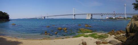 Seto Ohashi Bridge (panorama). Seto Ohashi Bridge is a series of double deck bridges connecting Okayama and Kagawa prefectures in Japan across a series of five Royalty Free Stock Photography