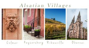 Various views of Alsatian villages - collage with text. Setof Various views of Alsatian villages - collage with text royalty free stock images