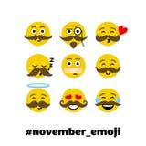Setof-Vektor emoji mit dem Schnurrbart und Bart vektor abbildung
