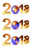 Setof Year 2018 Earth gobe Royalty Free Stock Photo