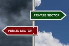 Setor privado contra o setor público Imagens de Stock Royalty Free