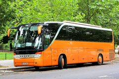 Setra S415HD. PARIS, FRANCE - AUGUST 8, 2014: Touristic coach Setra S415HD at the city street Royalty Free Stock Photos