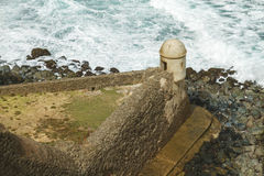 Setry box overlooking Atlantic ocean at El Morro Fortress Stock Image