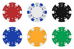 Sets 3d übertrugen farbige Kasinochips Stockfotos