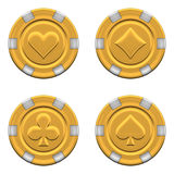 Sets of 3d rendered gold casino chips Stock Photos