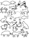 Sets of animals stock illustration