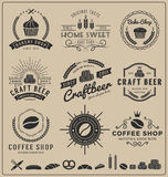 Sets of bake shop, craft beer, coffee shop logo and insignia for branding. Label, product packaging, letterpress and other design || Vector illustration and Stock Images