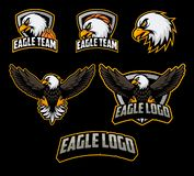 Sets of basketball logo mascot with eagle illustration vector. Basketball logo with eagle and ball elements royalty free illustration