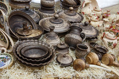 Sets of ceramic tableware in ethnic style Royalty Free Stock Photo