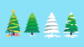 Sets of Christmas trees design art Stock Image