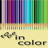 Sets of colored pencils by cool colors Royalty Free Stock Photos