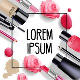 Sets of cosmetics on  background Stock Photo