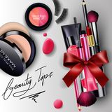 Sets of cosmetics background with red ribbon Stock Images