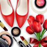Sets of cosmetics background with red tullips. Illustration of Sets of cosmetics background with red tulips Royalty Free Stock Image