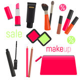 Sets of cosmetics on isolated background. Cosmetic bag with tools for professional make-up: lipstick, mascara, eyeshadow. And cosmetic brush. Vector Stock Image