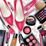 Sets of cosmetics on white background Royalty Free Stock Images