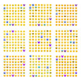 9 sets of cute smiley emoticons Royalty Free Stock Photos