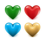 Sets of 3D Colorful Mesh Hearts Royalty Free Stock Images