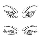 Sets of female eyes vector illustration Royalty Free Stock Images