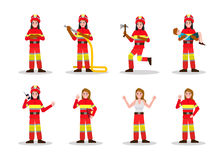 Sets of Firefighting. Fire Woman character design in many pose. Vector illustration Royalty Free Stock Photos