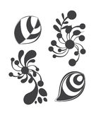 Sets of floral ornament isolated on white backgrou Stock Photography