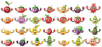 Sets of fruit faces Royalty Free Stock Photos
