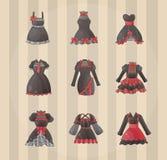 Sets of Gothic dresses vector illustration