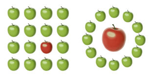 Metafor of difference. 2 sets of green apples of the same shape and size but one apple is red and different in size Royalty Free Stock Photography