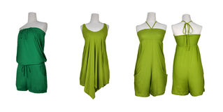 Sets of Green front and rear set on a white background.  Stock Images