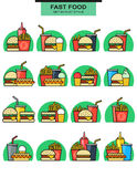Sets icons burgers with drinks, potato fries, and ice cream Stock Photo