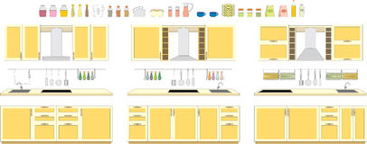 Sets of kitchen furniture Royalty Free Stock Image